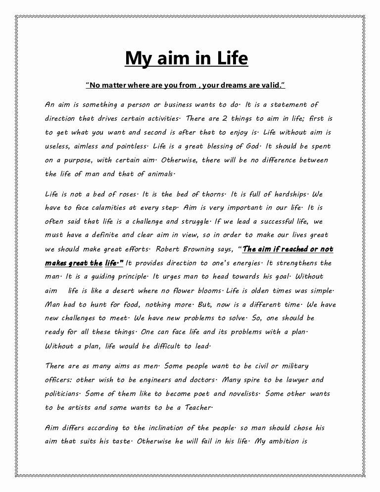 My Goals In Life Paragraph Unique My Aim In Lifec
