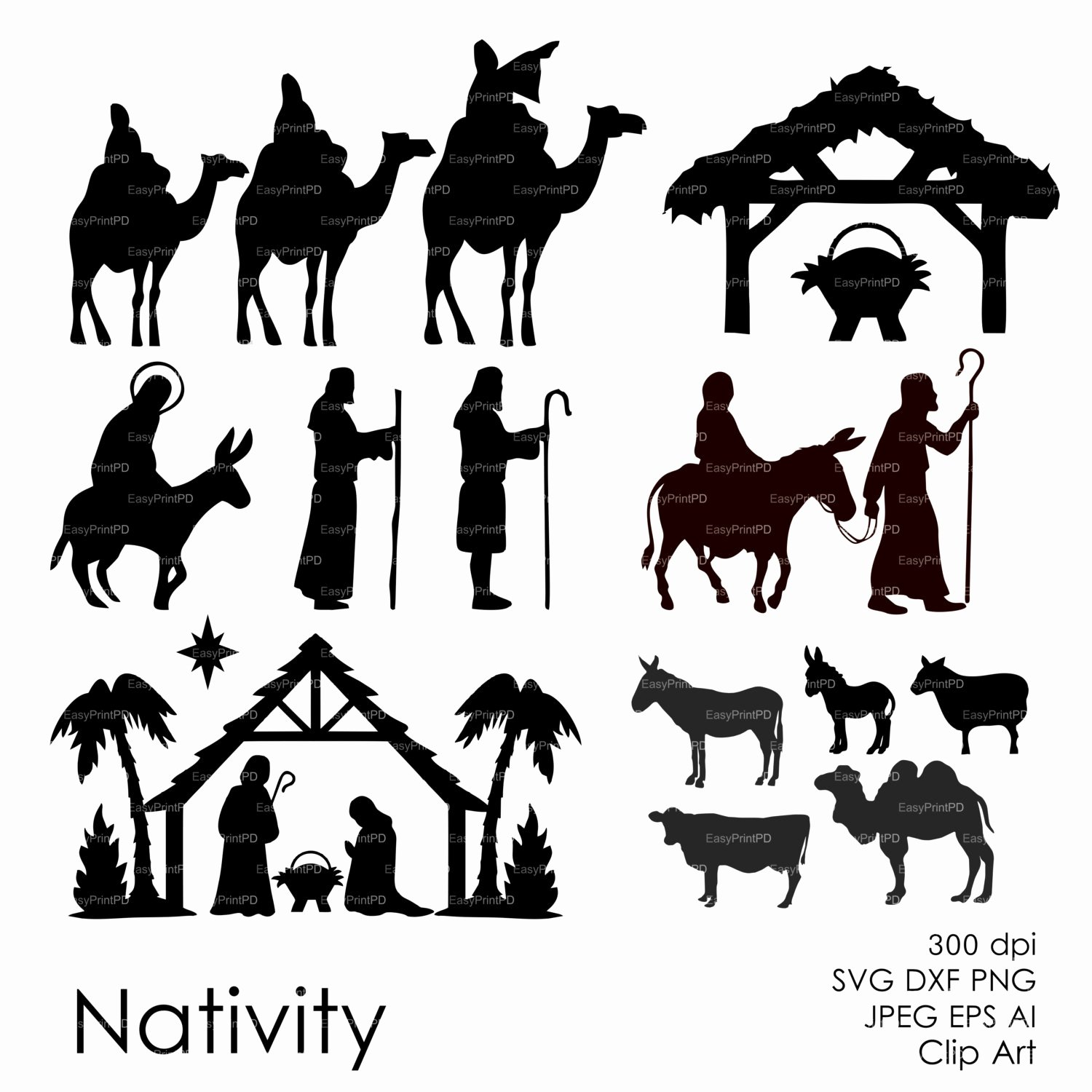 nativity christ silhouette overlays