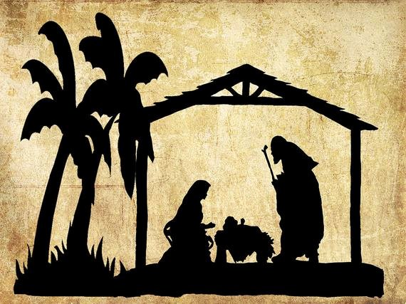 Nativity Scene Silhouette Pattern Free New Nativity Silhouettenativity Artnativity Scene Christmas