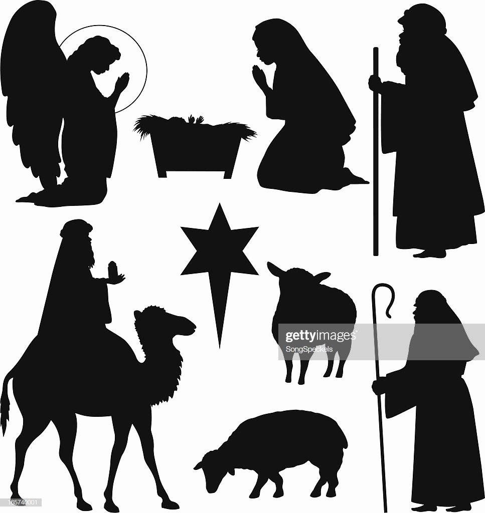 Nativity Silhouette Printable Luxury Christmas Nativity Silhouettes Vector Art