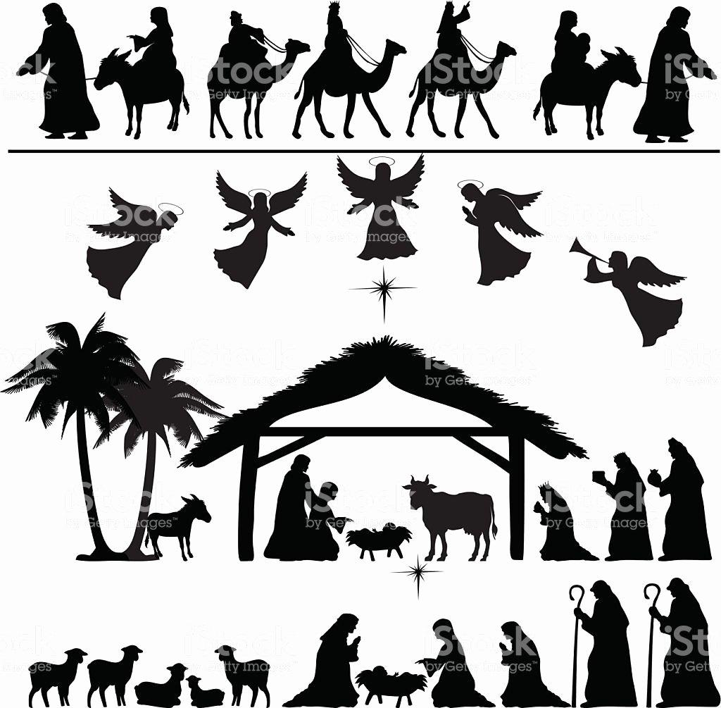 Nativity Silhouette Printable Luxury Nativity Silhouette Set Eps 8