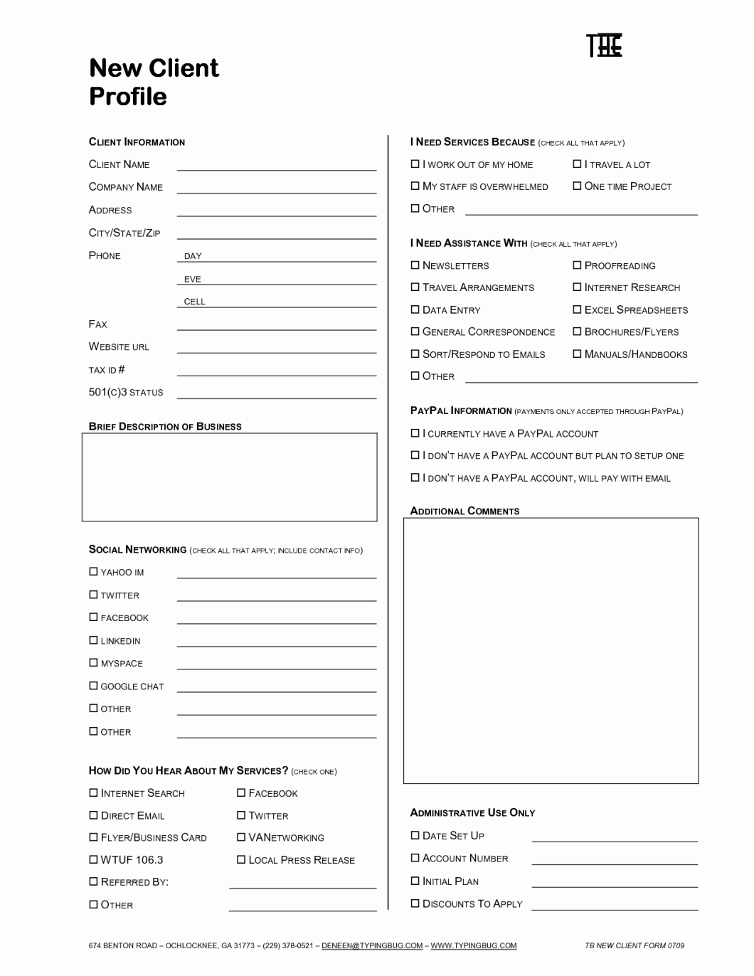 New Client form Template Inspirational Interior Design Client Profile form