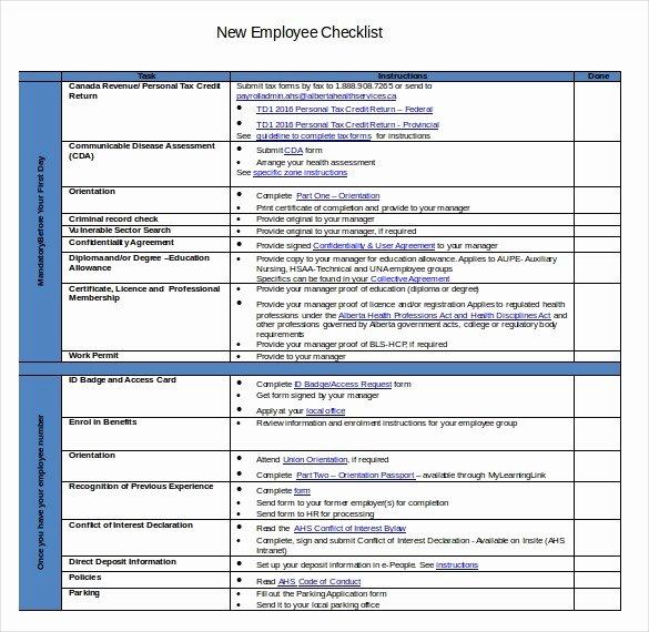 New Employee Checklist Template Excel Elegant New Employee Checklist Template Excel – Bulat