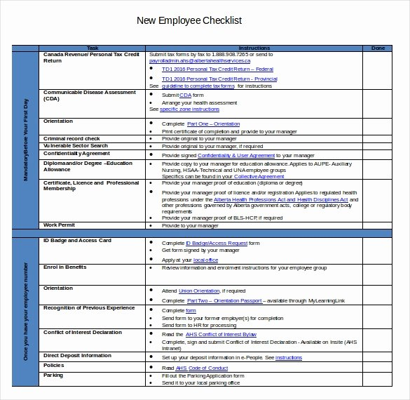New Employee Checklist Template Excel New New Hire Checklist Template 17 Free Word Excel Pdf