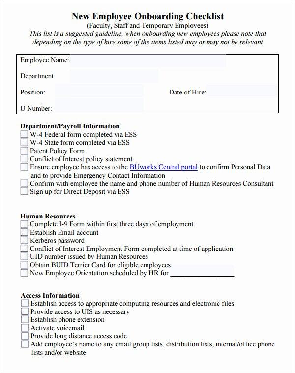 New Employee Checklist Template Excel Unique 26 Hr Checklist Templates Free Sample Example format