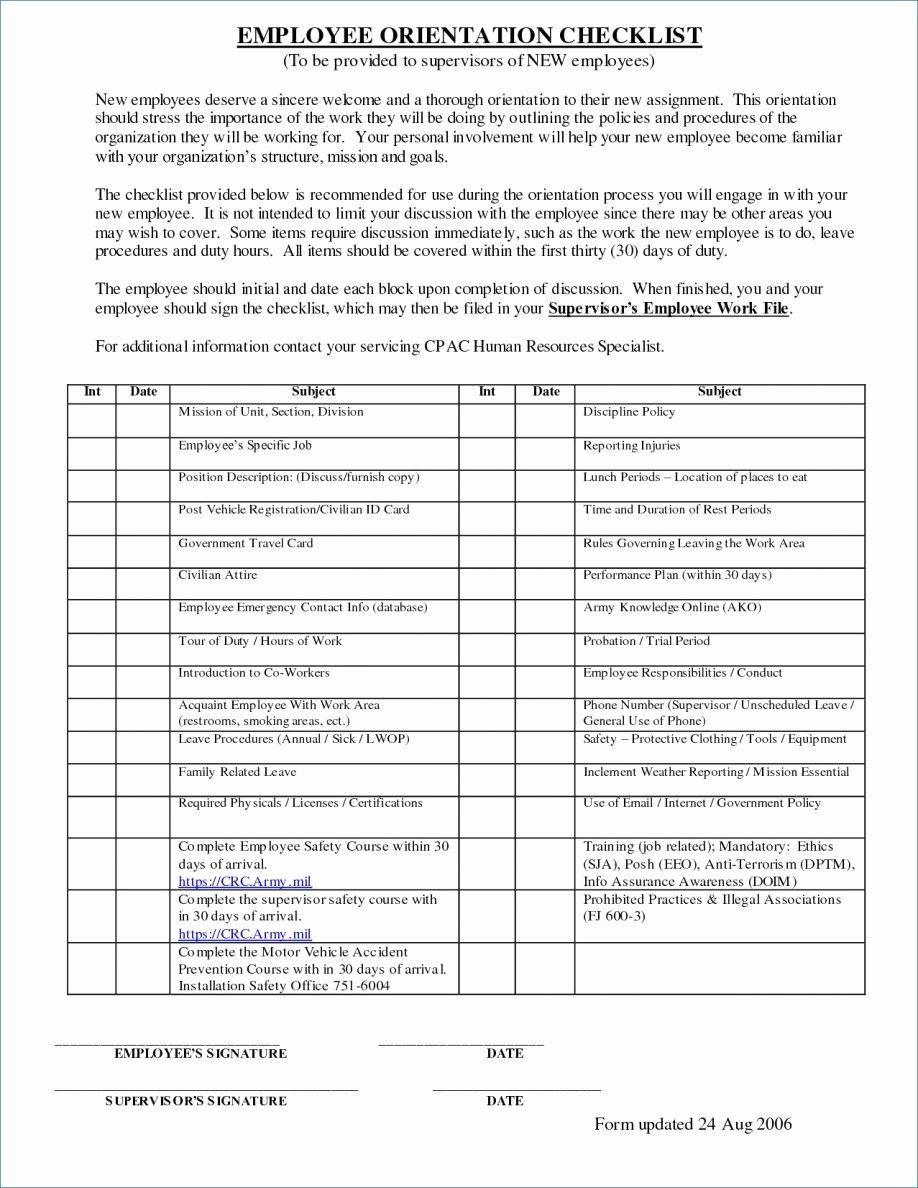 New Employee Checklist Template Excel Unique 4 5 New Employee Checklist Template Excel 1trader1