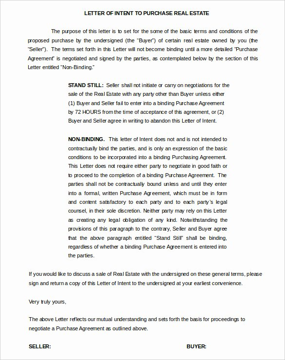 Non Binding Letter Of Intent to Lease Template Lovely 11 Real Estate Letter Of Intent Templates Pdf Doc