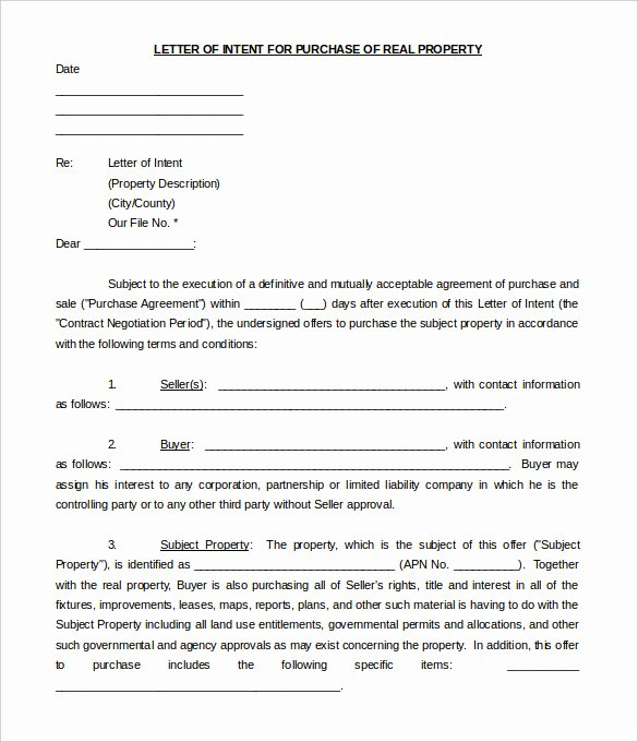 Non Binding Letter Of Intent to Lease Template Luxury Free Intent Letter Templates 18 Free Word Pdf