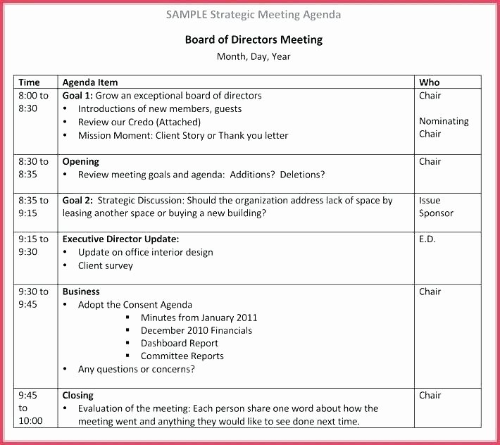 15 nonprofit board meeting agenda template