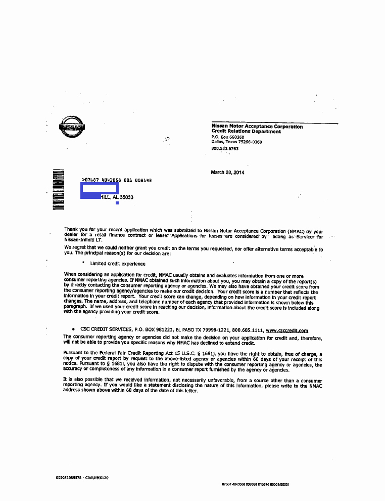 Notice Of Repossession Letter Template Fresh Denial Notice From Nmac Judson E Crump Pc