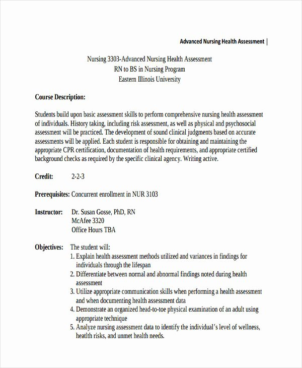 Nursing assessment Documentation Template New 34 Nursing assessments Examples & Samples