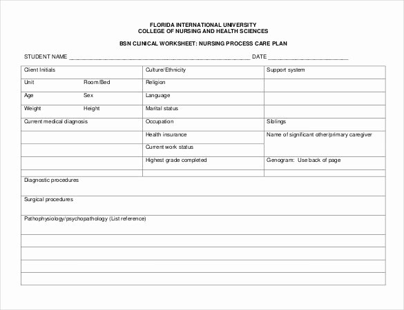 Nursing assessment Documentation Template Unique Nursing Care Plan Templates 20 Free Word Excel Pdf