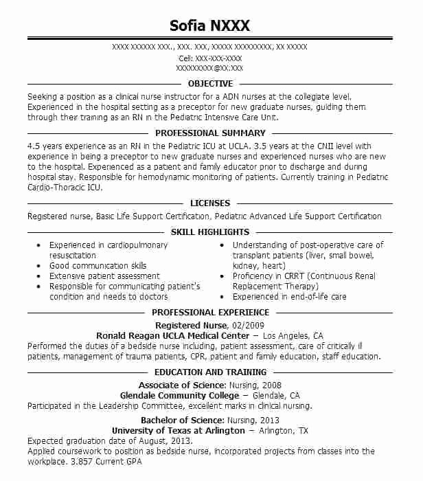 student nurse clinical experience resume example jeans hospital