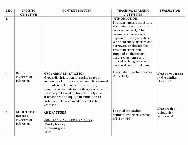 Nursing Patient Teaching Plan Sample Inspirational Lesson Plan On Myocardial Infarction