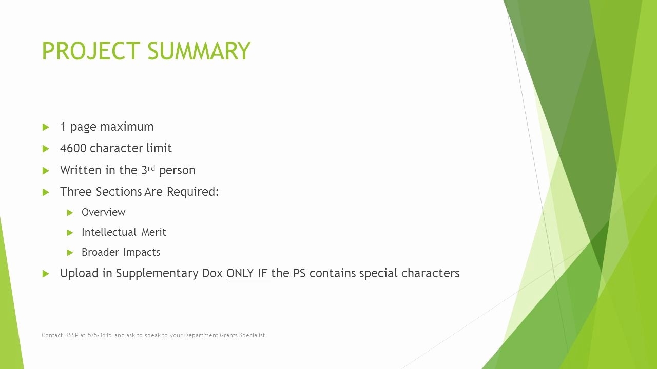 One Page Project Summary Inspirational solicitation Number Nsf Proposal Preparation Tips Ppt