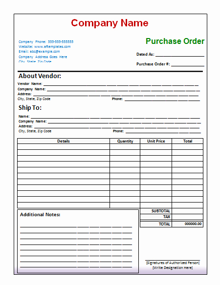 Order form Template Excel Lovely Purchase order Template Free Printables