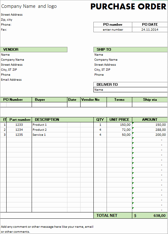 Order form Template Excel Luxury Excel Template Free Purchase order Template for