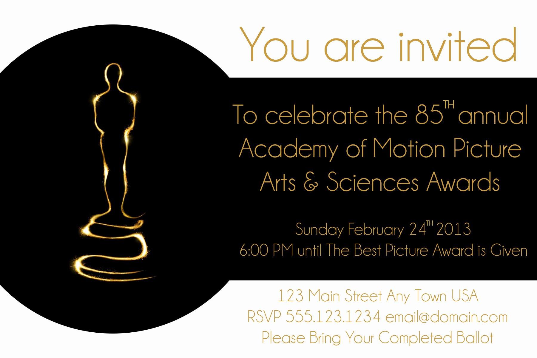 Oscar Invitation Templates Awesome Oscar Party Invite