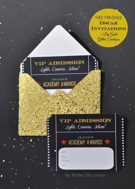 Oscar Invitation Templates Beautiful Free Printable Oscar Party Invitations Diy Gold Glitter
