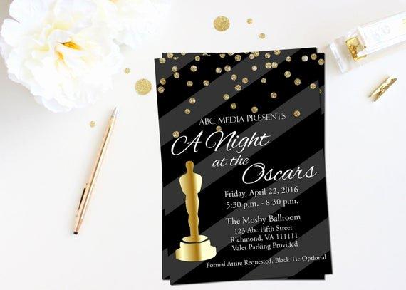 Oscar Invitation Templates Fresh Oscar Party Invitation Academy Awards Invitation Oscar
