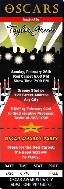 Oscar Invitation Templates Lovely Oscar Awards Red Carpet Paparazzi Ticket Invitation