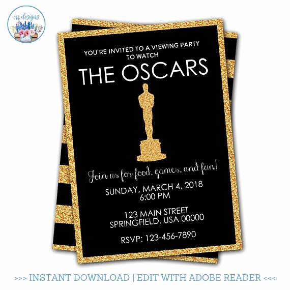 Oscar Invitation Templates Lovely Oscar Party Invitation Editable Oscar Party Invitation