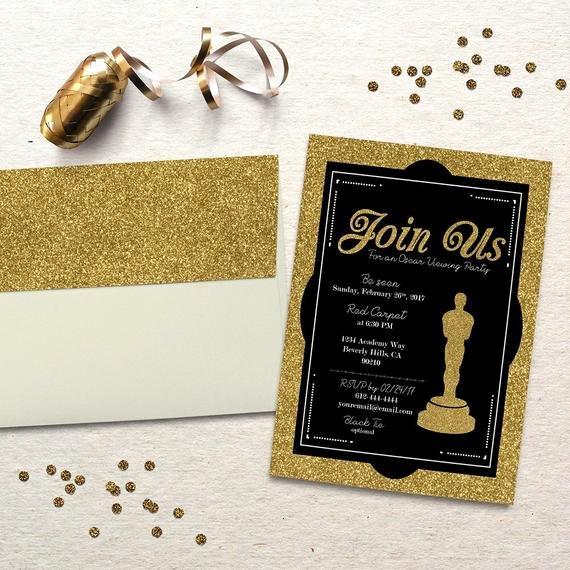 Oscar Invitation Templates Unique Oscar Party Invitation Academy Awards Oscar Viewing