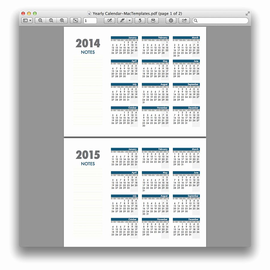 Pages Calendar Template Mac Beautiful Yearly Calendar Template for Pages and Pdf Mactemplates