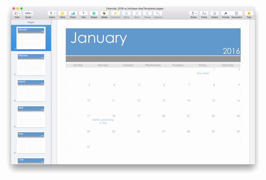 Pages Calendar Template Mac Lovely 2016 Calendar Template for Pages & Pdf Mactemplates