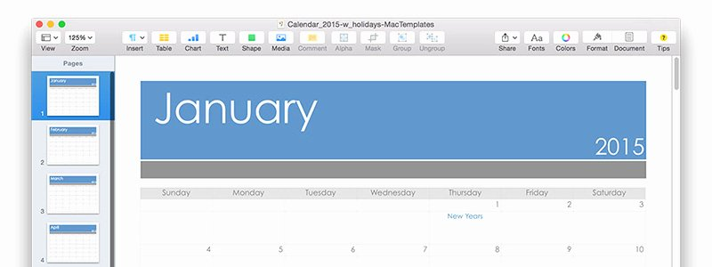 Pages Calendar Template Mac Lovely Calendar Template for Pages Updated for 2015