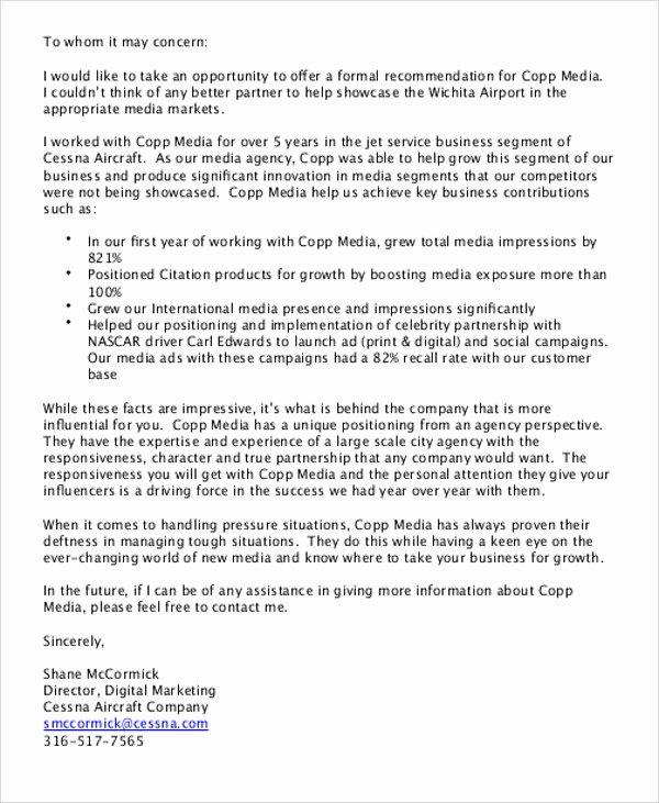 Partnership Letter Sample Inspirational Sample Business Re Mendation Letter 7 Examples In