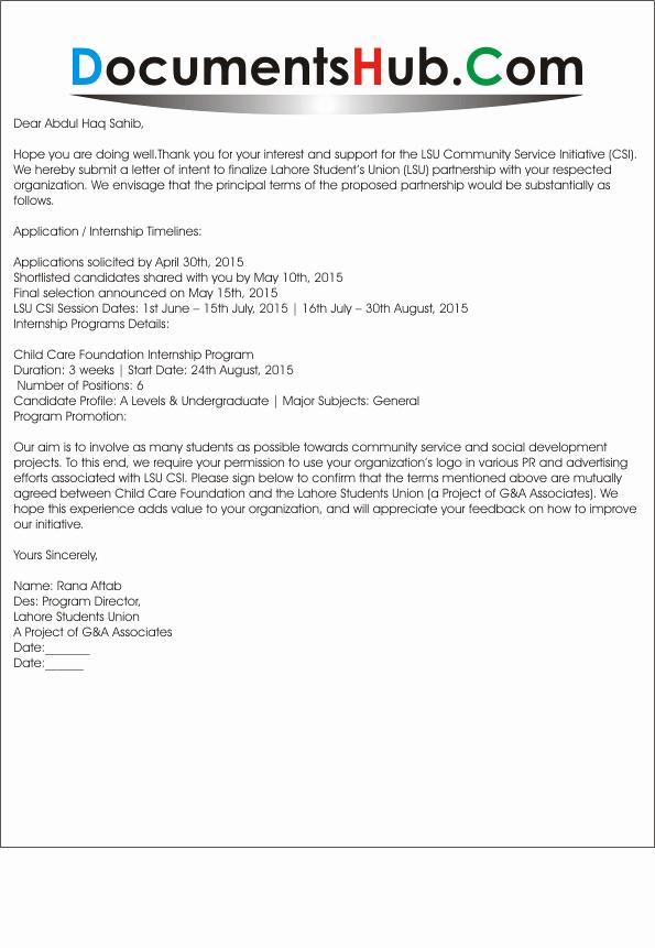 Partnership Letter Sample Lovely Business Partnership Letter Of Intent