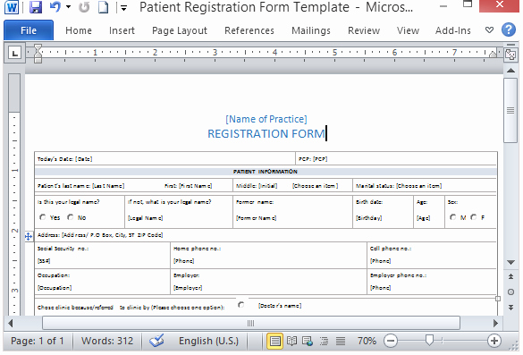 Patient Information form Template Elegant Free Patient Registration form Template