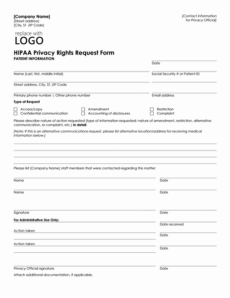 Patient Information Template Beautiful Patient Health Information Request form Can Be Used by