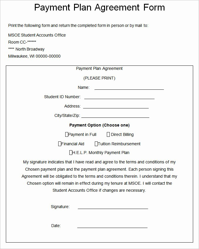 Payment Plan form Lovely Payment Plan Agreement Template – 21 Free Word Pdf