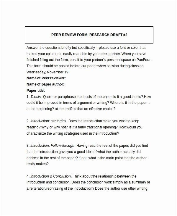 Peer Review Template Luxury 8 Sample Peer Feedback forms Example Sample format