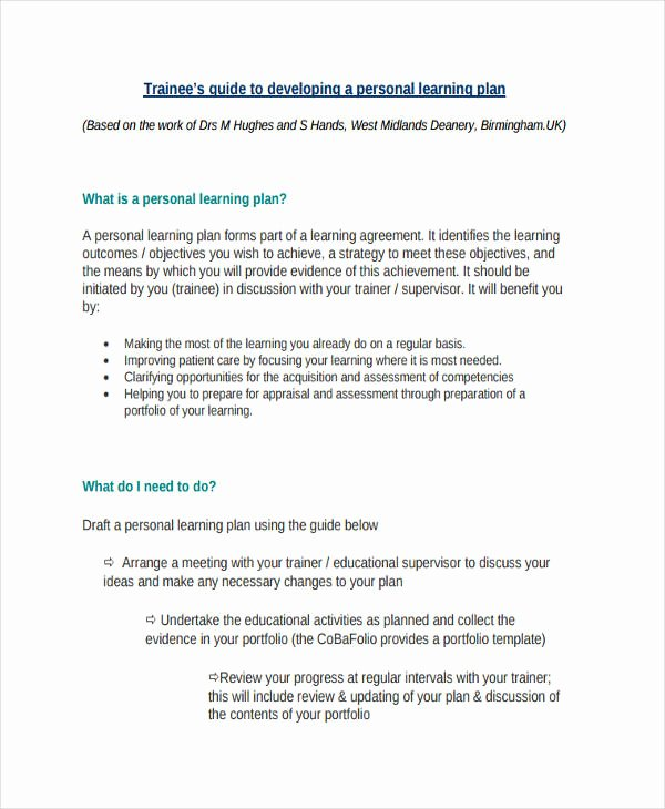 Personal Learning Plan Example Luxury 74 Personal Plan Examples & Samples Pdf Word Pages