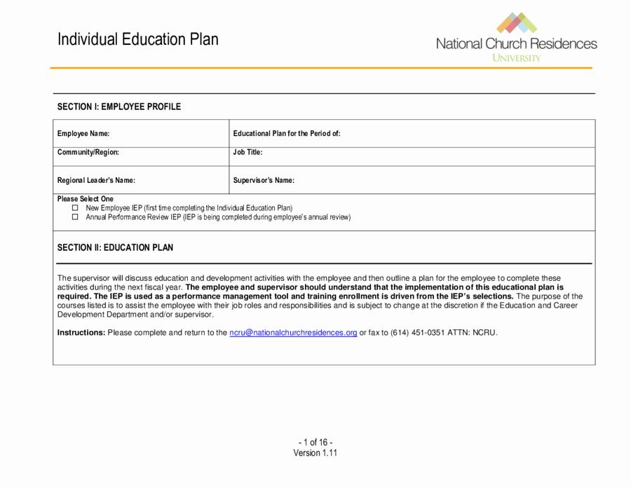 Personal Learning Plan Template Beautiful 2019 Individual Education Plan Fillable Printable Pdf