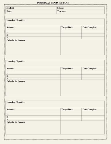 Personal Learning Plan Template Beautiful Individual Learning Plan Template by Moedonnelly