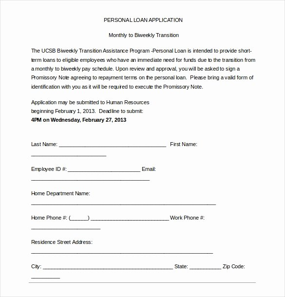 sample loan application template