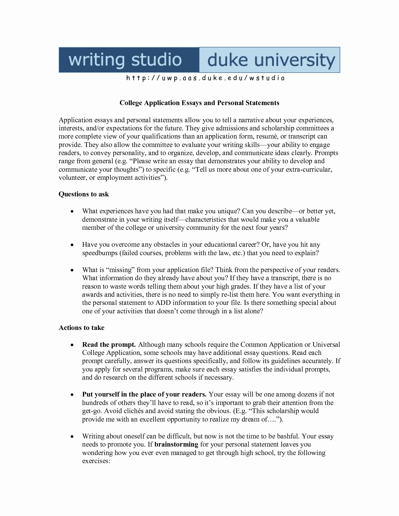 personal essay examples for college