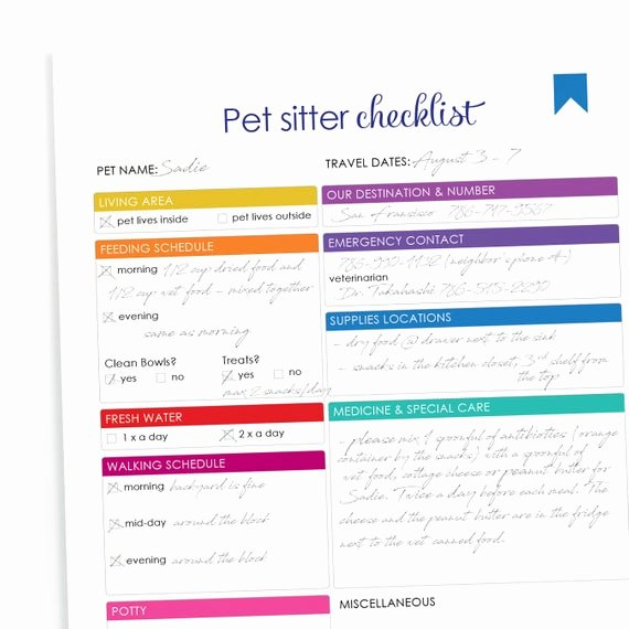 Pet Report Card Template Awesome Printable Pet Sitter Checklist Downloadable Home Management