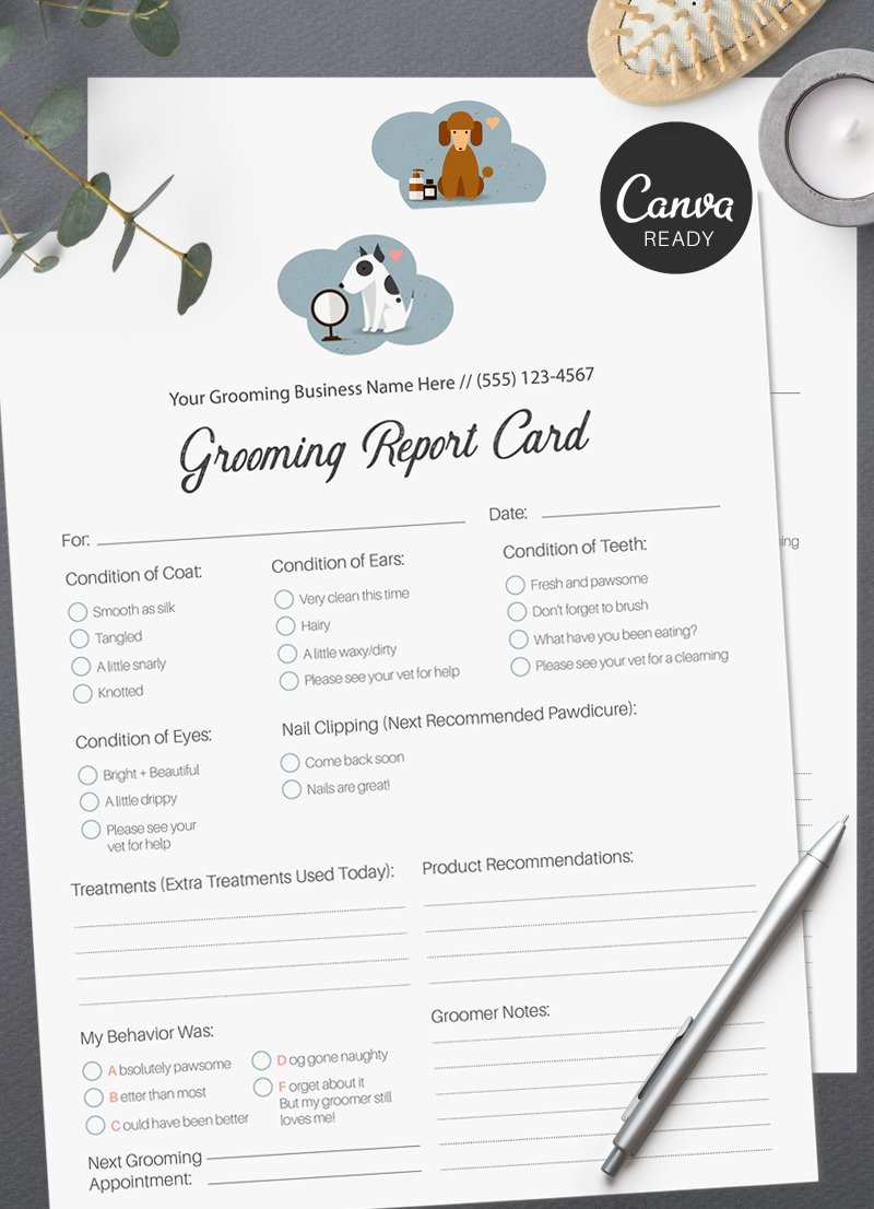 Pet Report Card Template Beautiful Editable Pet Grooming Report Cards