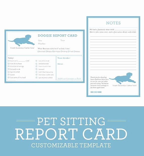Pet Report Card Template Luxury Simple Clean Classic Dog Pet Sitting Report Card