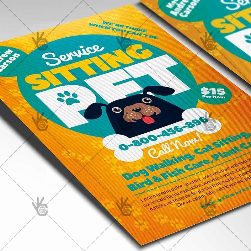Pet Sitting Flyer Template Beautiful Pet Sitting Flyer Business Psd Template
