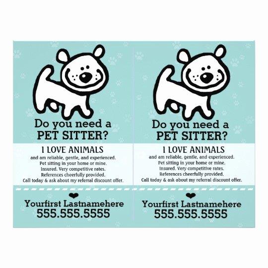Pet Sitting Flyer Template Lovely Pet Sitter Dog Sitter 2 for 1 Customisable Flyer