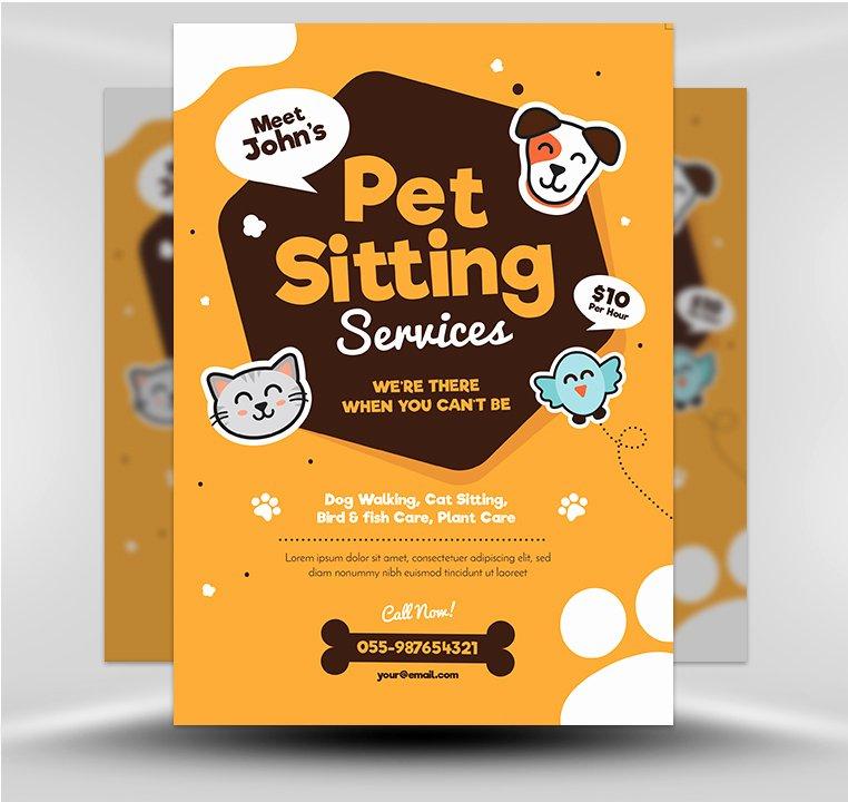 Pet Sitting Flyer Template Lovely Pet Sitting Flyer V1 Flyerheroes
