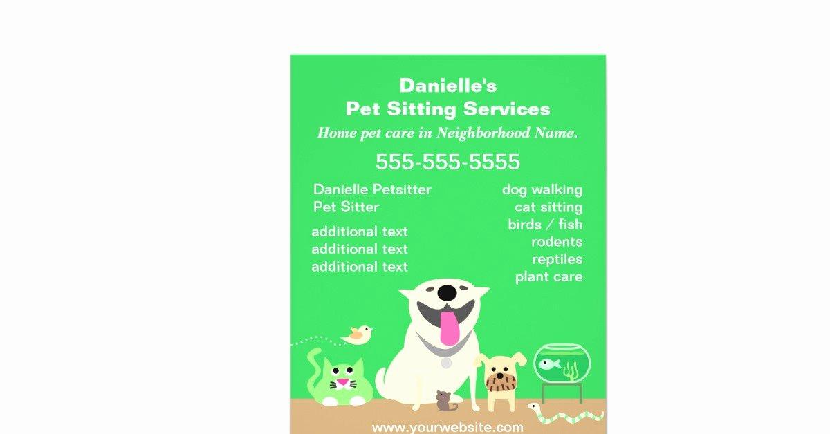 Pet Sitting Flyer Template Unique Green Pet Sitter Promotional Flyer