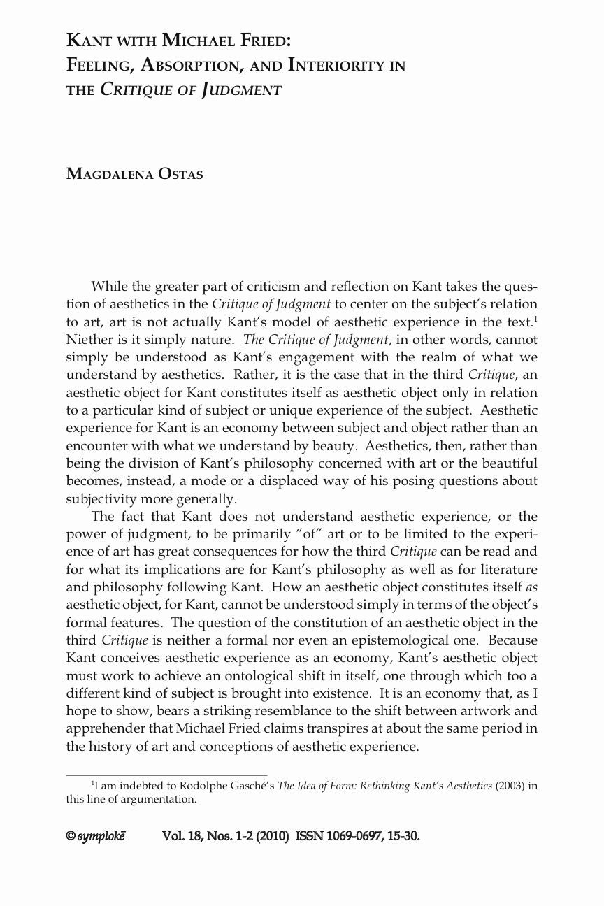 "Philosophy Of Success Essay Lovely Magdalena Ostas ""kant with Michael Fried Feeling"