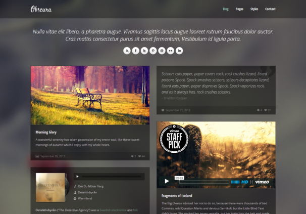 Photo Gallery Template HTML5 Lovely Obscura Responsive HTML5 theme HTML5xcss3